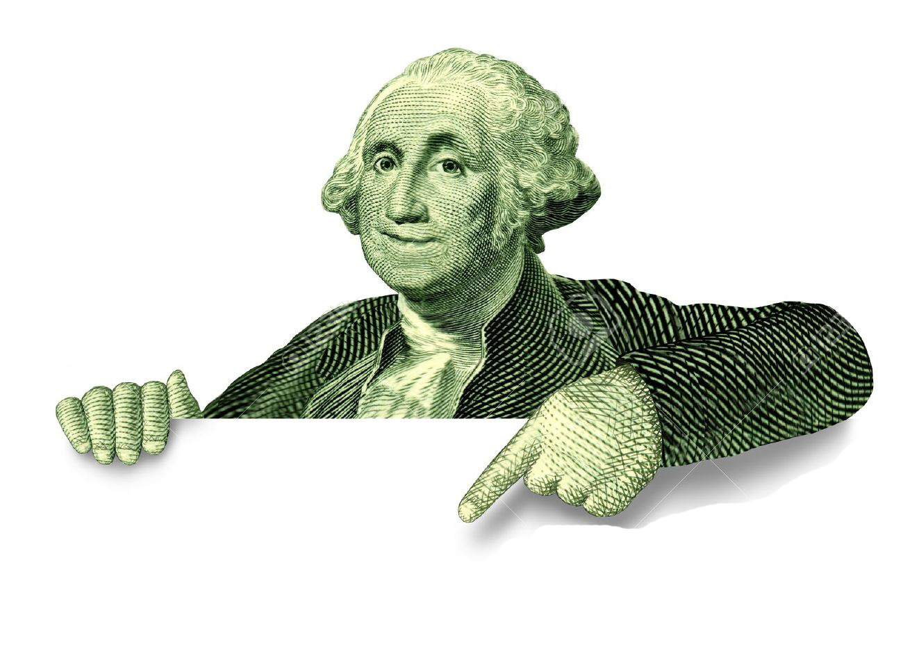 12353879-Savings-financial-blank-sign-with-George-Washington-pointing-to-an-announcement-on-a-white-backgroun-Stock-Photo