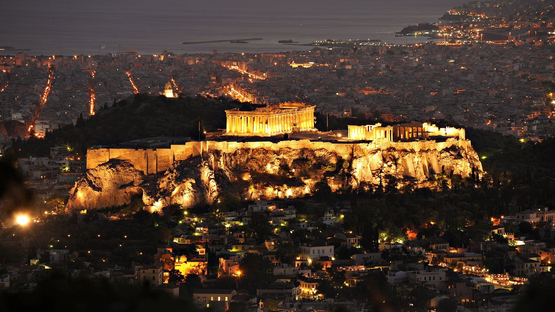 Parthenon-At-Night-Athens-Greece-Wallpaper